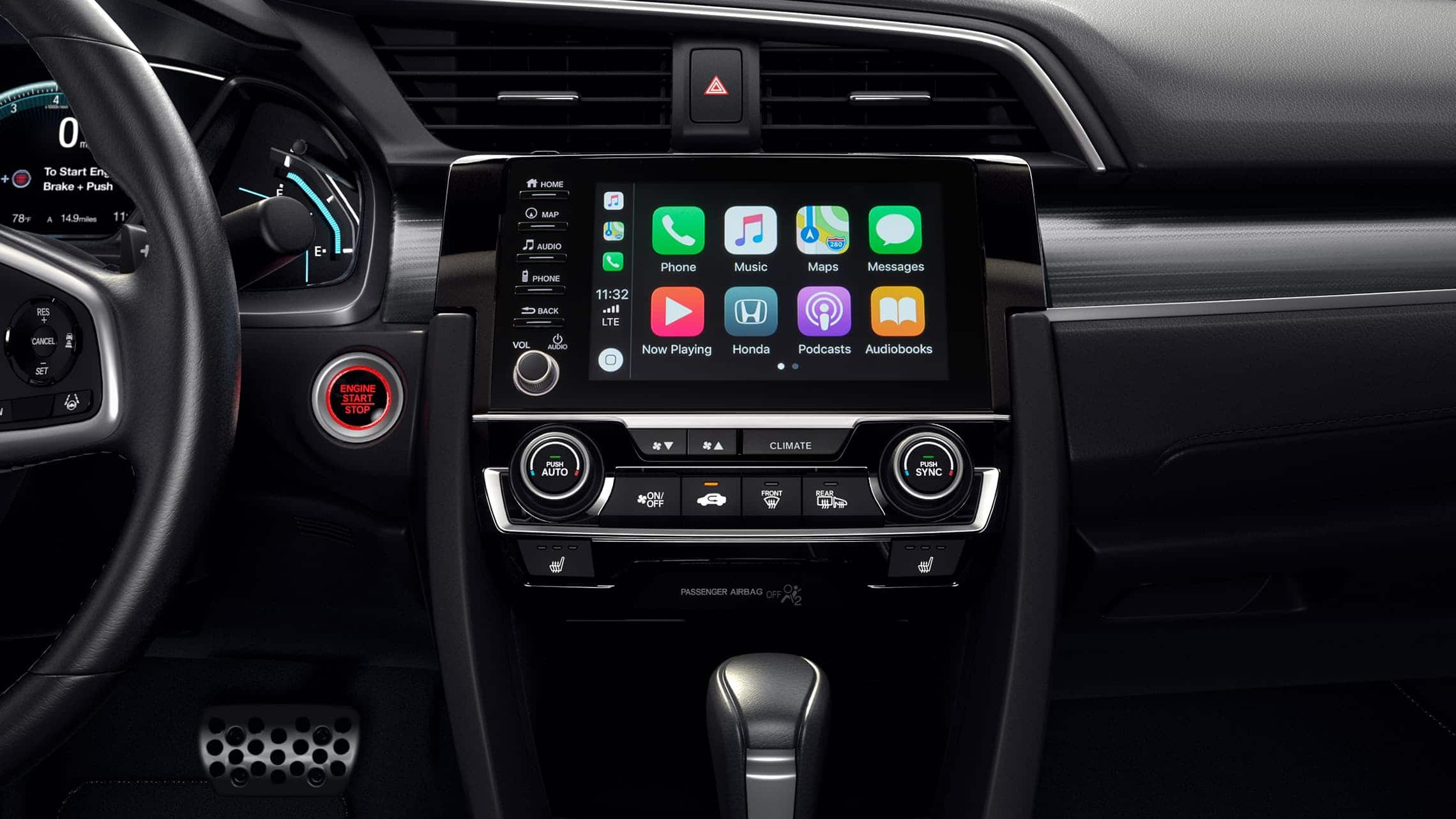 Apple CarPlay® detail on Display Audio touch-screen in the 2020 Honda Civic Touring Sedan.