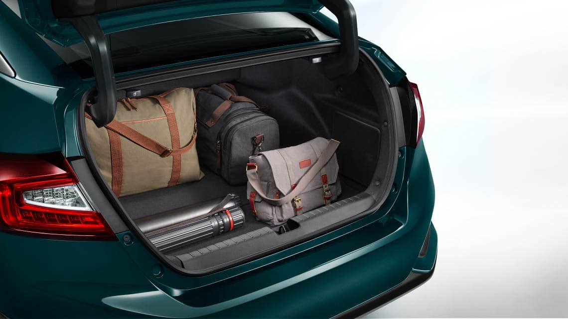 Detail of cargo loaded in open trunk of 2020 Clarity Plug-In Hybrid.