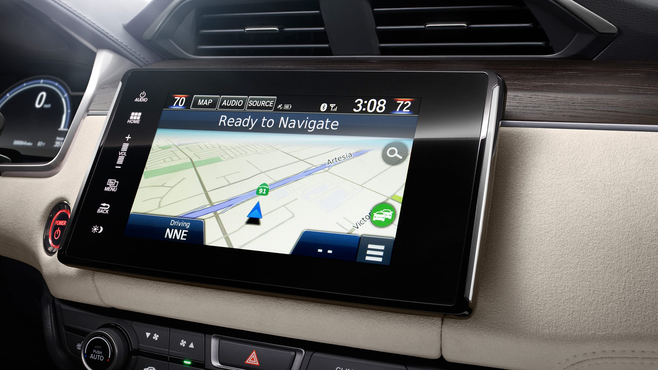 Detail of navigation map on 8-inch Display Audio touch-screen.