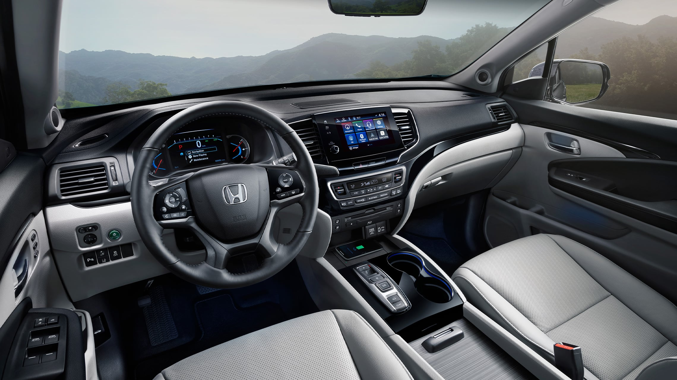 Interior cabin view of 2021 Honda Pilot Elite with Gray Leather.