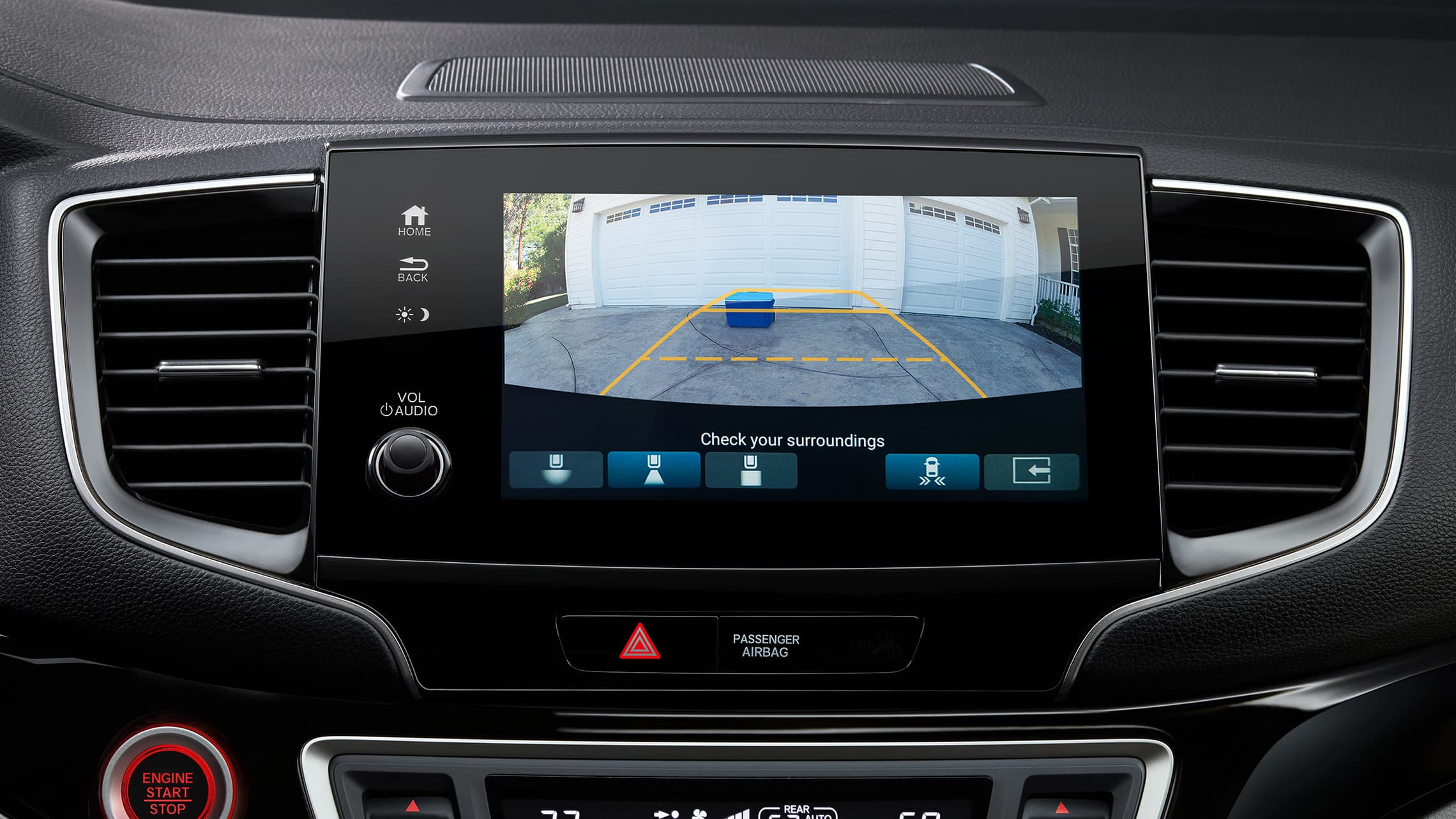 Interior cabin view of center screen with multi-angle rearview camera on the 2021 Honda Pilot.